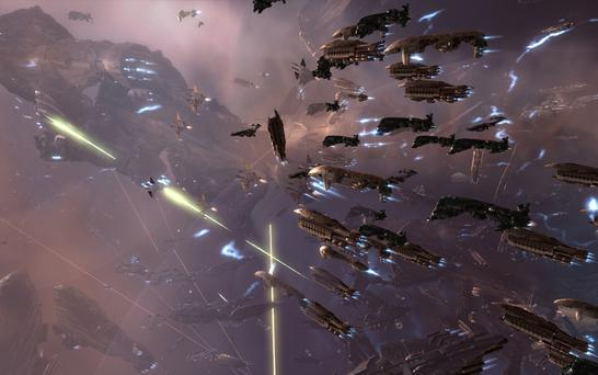 A fleet of ships in EVE Online
