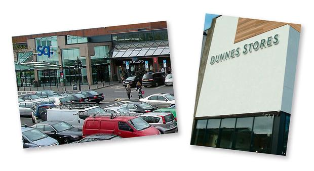 The Square in Tallaght, Dublin, and, right, Dunnes Stores.