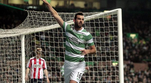 Celtic's Joe Ledley celebrates his goal during the Scottish Premier League match at Celtic Park, Glasgow.