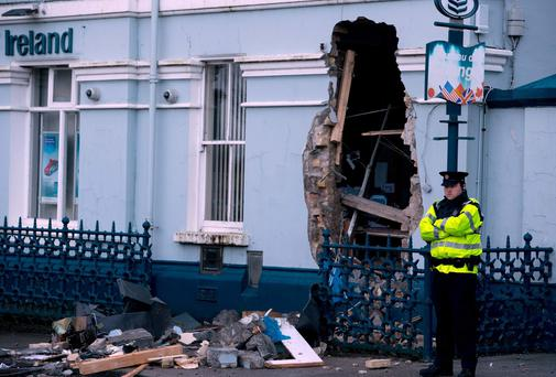 A digger was used to remove an ATM machine from the Bank of Ireland.
