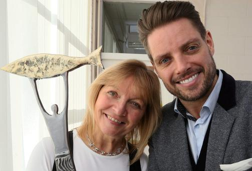 Keith Duffy along with Tina Roche, CEO of the Community Foundation for Ireland.