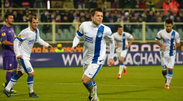 Liverpool target Yevhen Konoplyanka celebrates scoring for FC Dinipro in the Europa League against Fiorentina
