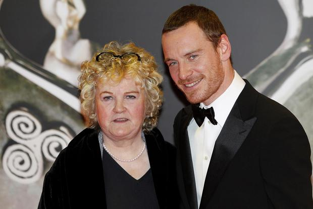 Actors Michael Fassbender and Brenda Fricker