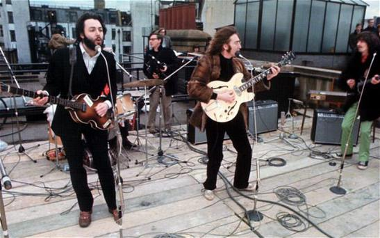 The Beatles' last public performance, on the roof of Apple Records in London on January 30 1969