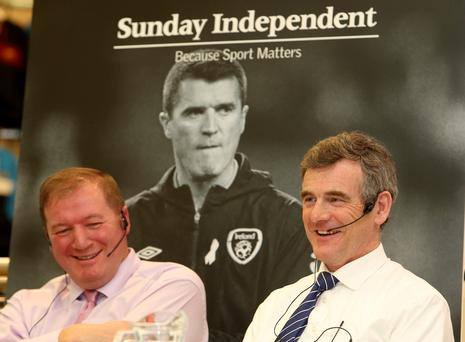 Neil Francis and Colm O'Rourke at the Sunday Independent 'Off the page' event at Elverys, Dundrum. Photo: Gerry Mooney
