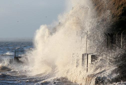 Stormy conditions batter the coastline at Gyles Quay near Dundalk.