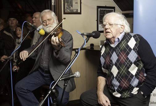 John Sheehan & Paddy Reilly during a Luke Kelly special show live from O'Donoghues pub on Baggot street