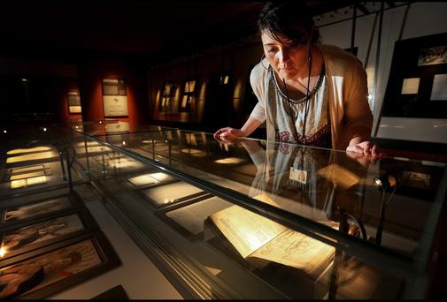 Andrea Lyons who is a Librarian at the National Gallery of Ireland take a closer look at the 150th Anniversary Exhibition yesterday.