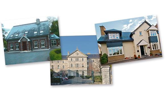 Left to right: Jolie Lodge just outside Tuam, Chapelgate in Drumcondra, Glenview near the Powerscourt Estate