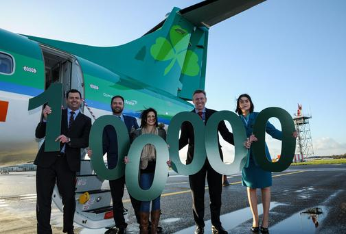 Aer Lingus Regional, operated by Aer Arann, welcomed its 100,000th passenger on the London Southend Dublin route.