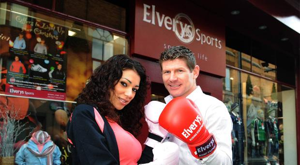 Boxer Jim Rock and model Georgia Salpa at the official opening of Elverys Sports in Dun Laoghaire back in 2007