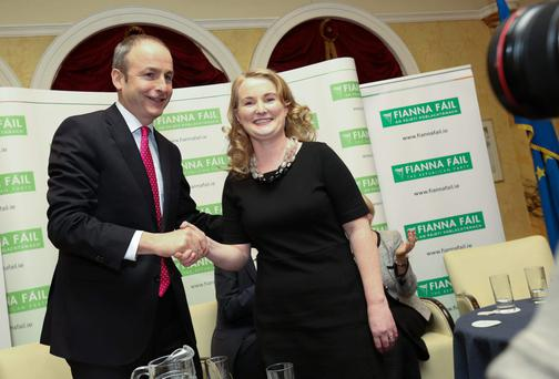 Congratulations in order: Mary Fitzpatrick with Micheál Martin. Photo: Conor McCabe.