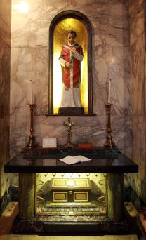 St Valentine's shrine, located at Our Lady of Mount Carmel church in Aungier Street, Dublin