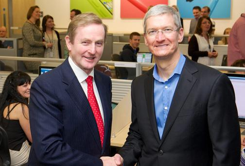 Apple CEO Tim Cook met Taoiseach Enda Kenny on a recent visit to the company's plant in Cork