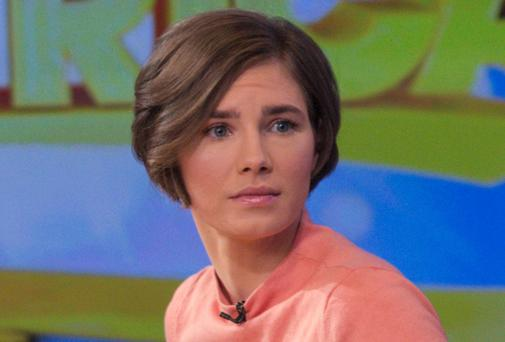 Amanda Knox on the set of 'Good Morning America' after being interviewed, in New York, yesterday