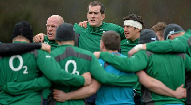 Ireland's Devin Toner, centre, with Paul O'Connell, left, and Mike McCarthy during squad training ahead of their Six Nations clash with Scotland