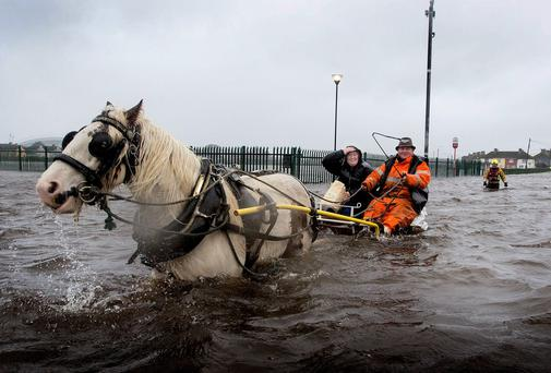 A local man and his horse ferries people in and out of Saint Marys Park in Limerick after the River Shannon burst its banks in Limerick City in another wave of storms to hit the city. Pic Sean Curtin.