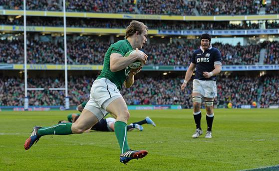 2 February 2014; Andrew Trimble, Ireland, on his way to score his side's first try. RBS Six Nations Rugby Championship, Ireland v Scotland, Aviva Stadium, Lansdowne Road, Dublin. Picture credit: Paul Mohan / SPORTSFILE