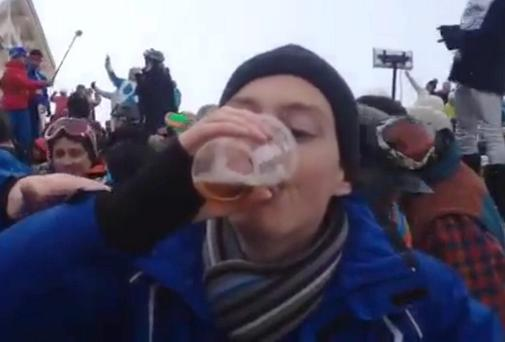 Kevin Doyle takes part in a drinking game in the French Alps