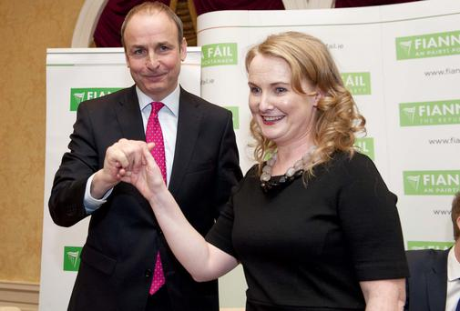 Fianna Fail party leader Micheal Martin congratulates newly selected candidate Mary Fitzpatrick last week