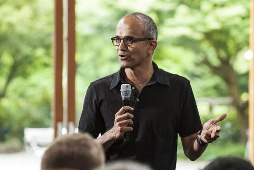 Satya Nadella, executive vice president, Cloud and Enterprise, addresses employees during the One Microsoft Town Hall event in Seattle, Washington in this July 11, 2013 photo made available to Reuters on January 30, 2014. Microsoft Corp's board is preparing to name internal cloud-computing head Satya Nadella as the software company's next chief executive, Bloomberg reported on Thursday, citing unnamed sources it said were briefed on the CEO search process. REUTERS/Microsoft/Handout (