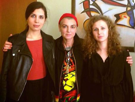 Singer Sinead O'Connor met members of Russian Protest group Pussy Riot Nadezhda Tolokonnikova and Maria Alyokhina