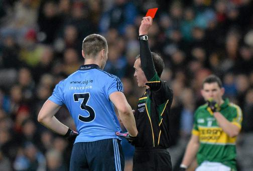 1 February 2014; Sean George, Dublin, is shown a red card and sent off by Referee David Coldrick in the forty sixth minute of the game. Allianz Football League Division 1 Round 1, Dublin v Kerry, Croke Park, Dublin. Picture credit: Ray McManus / SPORTSFILE