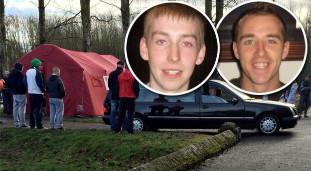 The body of Jonny Byrne, inset left, is taken away by a hearse after it was recovered from the River Barrow, near Milford Bridge, Co Carlow. Inset right: Dublin DJ, Ross Cummins (22), whose death has also been linked to the 'Neknomination' craze