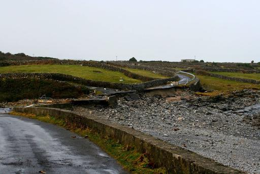 Damage on Inishmore the Aran Islands Photo: Tommy Dirrane