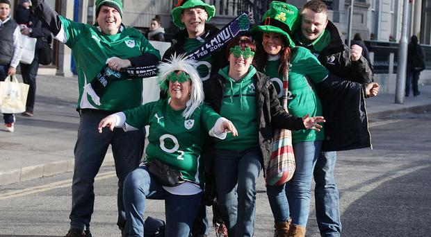Rugby fans pictured in the city centre ahead of the Ireland v Scotland Six Nations game at the Aviva Stadium in Dublin. Pic Stephen Collins/Collins