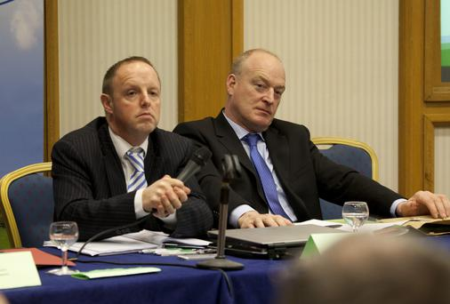 Eddie Punch and Patrick Kent at the ICSA Annual Conference, Alexander Hotel, Dublin. Collins Photo: Michael Donnelly.
