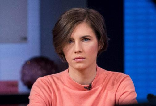 Amanda Knox arrives at the set of ABC's
