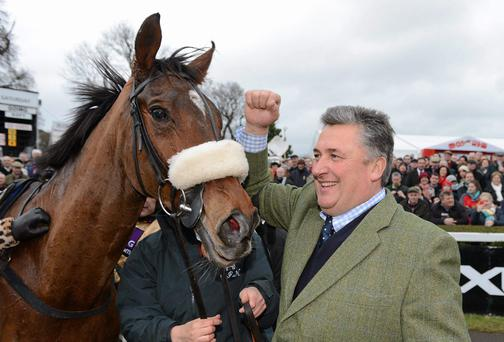 Trainer Paul Nicholls with Tidal Bay