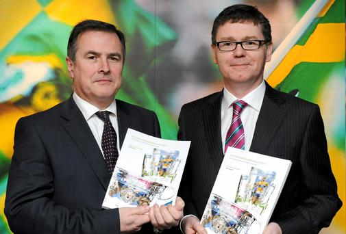 GAA Director of Finance Tom Ryan, right, with GAA Stadium and Commercial Director Peter McKenna