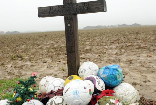 TRUCE FIELD: Balls placed at the site of the famous game on Christmas Day 1914, close to the Island of Ireland Peace Park.