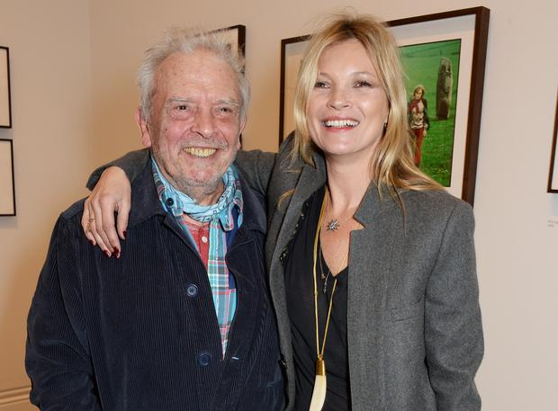 David Bailey (L) and Kate Moss attend a private view of Bailey's Stardust, a exhibition of images by David Bailey supported by Hugo Boss, at the National Portrait Gallery on February 3, 2014 in London, England. (Photo by David M. Benett/Getty Images)