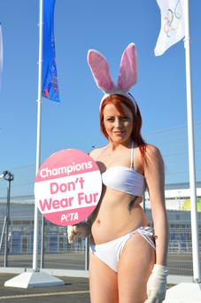 Dubliner Laura Dalton protests at the Olympic park in Sochi
