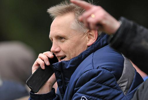 Ireland rugby head coach Joe Schmidt watches his son Tim playing for Terenure College in the Leinster Schools Senior Cup. Picture credit: Daire Brennan / SPORTSFILE
