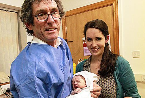 Dr Jerry Cowley with baby Amaya and his daughter, Caroline Cowley Ó Faoiláin, a trainee GP. Picture: TERESA COWLEY