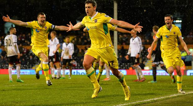 Shaun Miller of Sheffield United celebrates scoring the winning goal in extra time