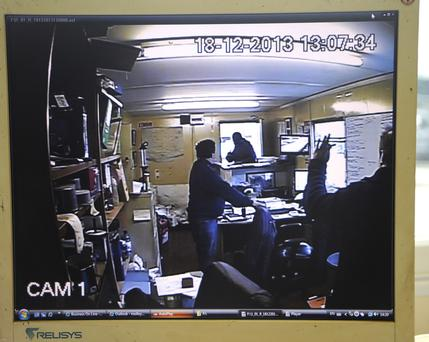 CCTV footage from the raid on a Co Wexford metal breaking yard owned by John Molloy