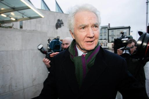 Former Anglo Chairman Sean FitzPatrick (65), of Whitshed Road, Greystones, Co Dublin, leaving court today where he pleaded not guilty to 16 charges of fraud offences. Pic: Courtpix