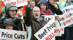 Beef Farmers take part in a previous IFA protest. Picture: Finbarr O'Rourke