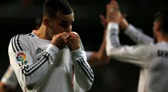 Real Madrid's Jese Rodriguez celebrates his goal during their Spanish King's Cup semi-final first leg soccer match against Atletico Madrid at Santiago Bernabeu stadium. Photo: Reuters/Juan Medina