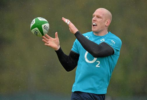 Ireland's Paul O'Connell in action during squad training