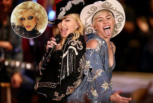 Madonna and Miley Cyrus, inset, Panti who got a message of support from the singer today