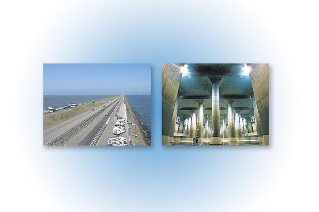 Left: Flood defences in the Netherlands Right: A massive water discharge tunnel on the outskirts of Tokyo