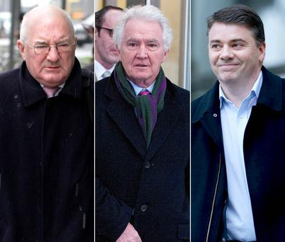 Former Anglo Irish Bank executive Pat Whelan, right; former chairman Sean FitzPatrick; and former executive William McAteer