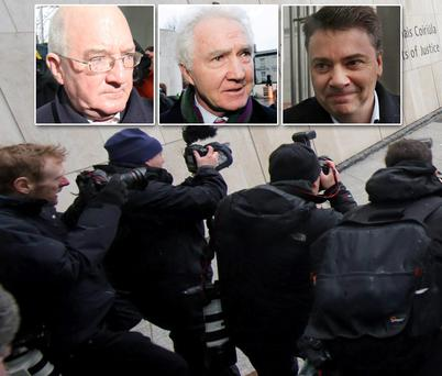 The media outside the court. Inset from left, William McAteer, Sean FitzPatrick, Pat Whelan