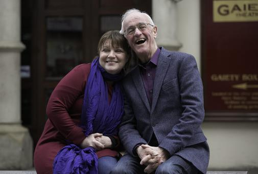 Cast members Mary McEvoy and Frank Kelly at the launch of the Annual John B Keane Season which will commence with a new production of the critically acclaimed MOLL at the Gaiety Theatre, Dublin. Photo: Collins
